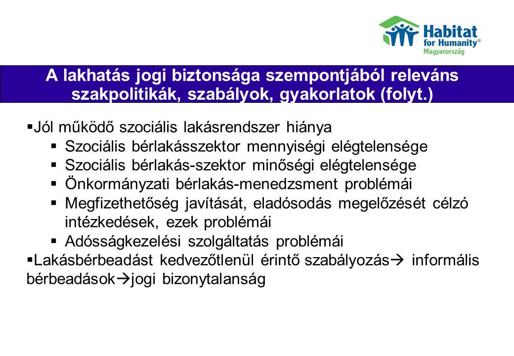 Habitat mérföldkövek/jellemzők Their joy Nemzetközi fejlesztési netwörk része, magyar indulás: 1996 150 új lakás felépítése, felújítási programok: 275 család segítése, képzések és műszaki tanácsadás: 515 család, összesen 940 család Családok aktív bevonása, nem segélyprogram Partnerségek civil szervezetekkel és önkormányzatokkal Külföldi önkéntések (Global Village) és vállalati önkéntesek Finanszírozás: adománygyűjtés, családok törlesztése Egy nagy nemzetközi szervezet támogatása: források, minőségbiztosítás, szakértelem