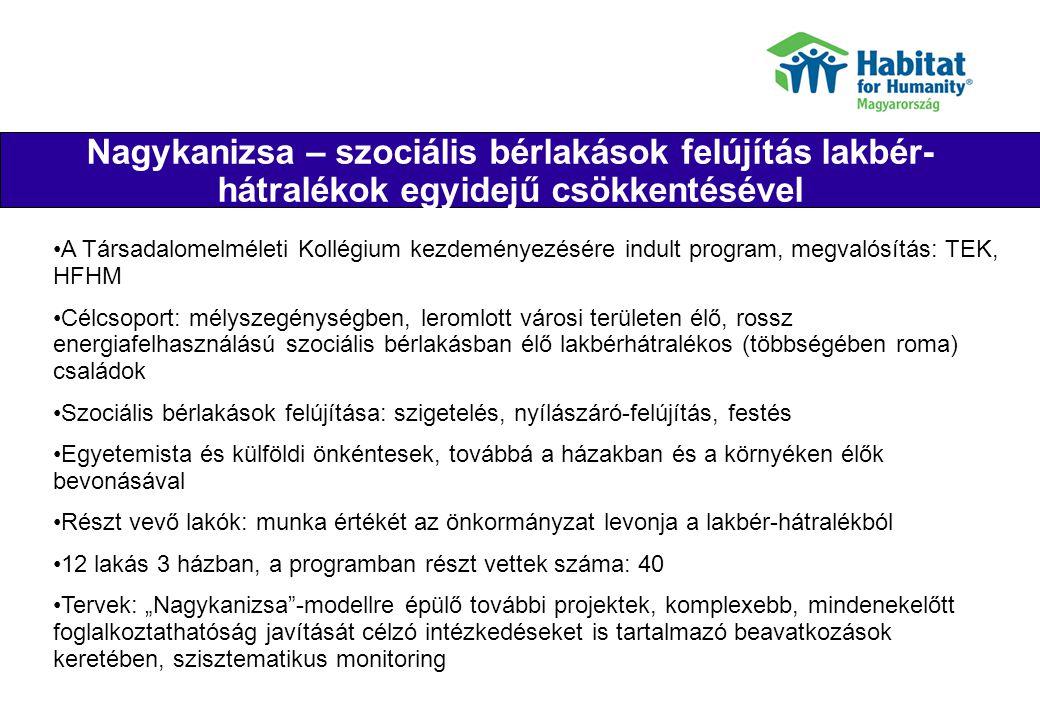 IDA program Their joy Célcsoport: mélyszegénységben élők Komplex: olyan holisztikus program, ahol a lakhatási fejlesztés összekapcsolódik (pénzügyi) képzéssel, családgondozással, közösségi fejlesztéssel és munkahelyteremtéssel Komplex: sok partner szervezet együttműködése szükséges: Autonómia Alapítvány, Mikrohitel Zrt., önkormányzatok: Bonyhádi Kistérség (Kisvejke, Tevel, Lengyel), Kiskunhalas, Lajosmizse, Nyírmada; SOS Gyermekfalu Alapítvány, Open Society Institute (Soros) Levi s Alapítvány