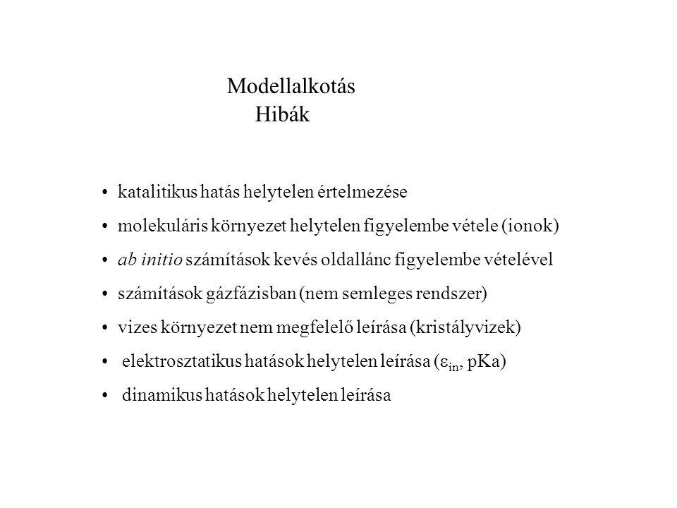 Modellalkotás Hibák katalitikus hatás helytelen értelmezése molekuláris környezet helytelen figyelembe vétele (ionok) ab initio számítások kevés oldallánc figyelembe vételével számítások gázfázisban (nem semleges rendszer) vizes környezet nem megfelelő leírása (kristályvizek) elektrosztatikus hatások helytelen leírása (  in, pKa) dinamikus hatások helytelen leírása