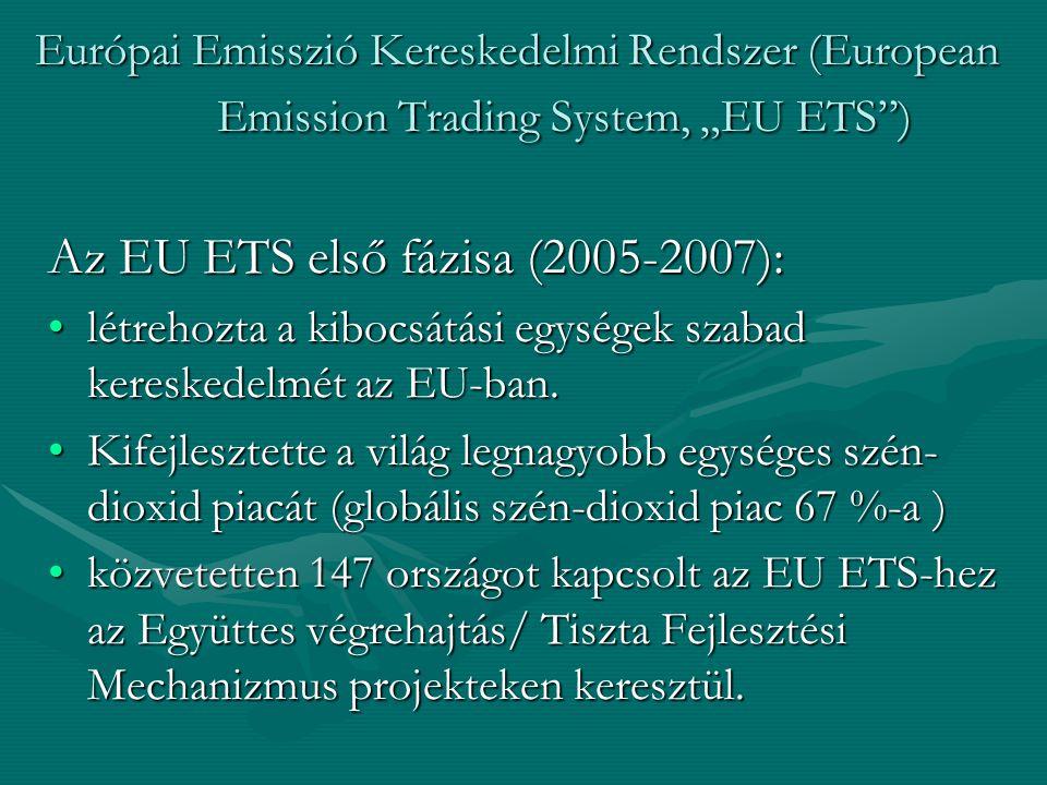 """Európai Emisszió Kereskedelmi Rendszer (European Emission Trading System, """"EU ETS ) Az EU ETS első fázisa (2005-2007): létrehozta a kibocsátási egységek szabad kereskedelmét az EU-ban.létrehozta a kibocsátási egységek szabad kereskedelmét az EU-ban."""