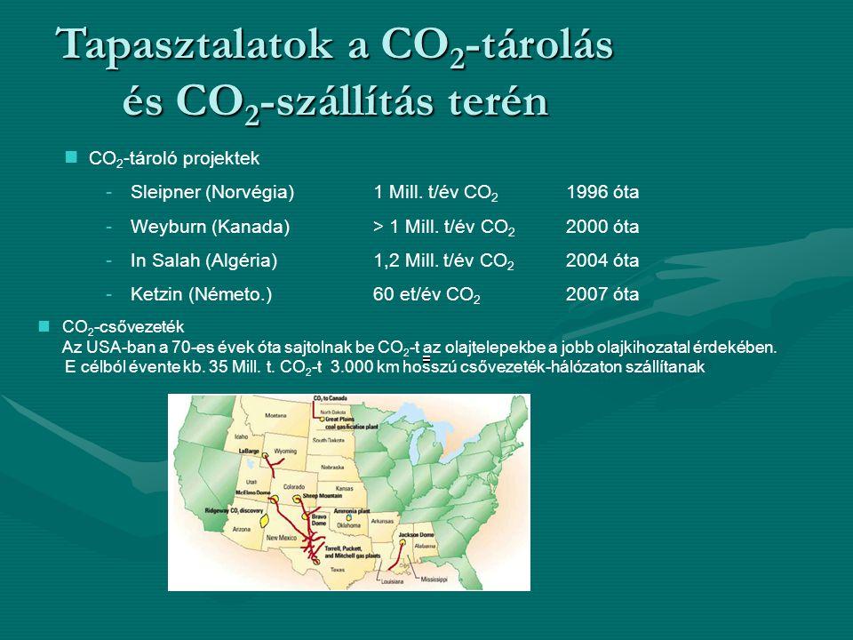 Tapasztalatok a CO 2 -tárolás és CO 2 -szállítás terén CO 2 -tároló projektek - Sleipner (Norvégia) 1 Mill.