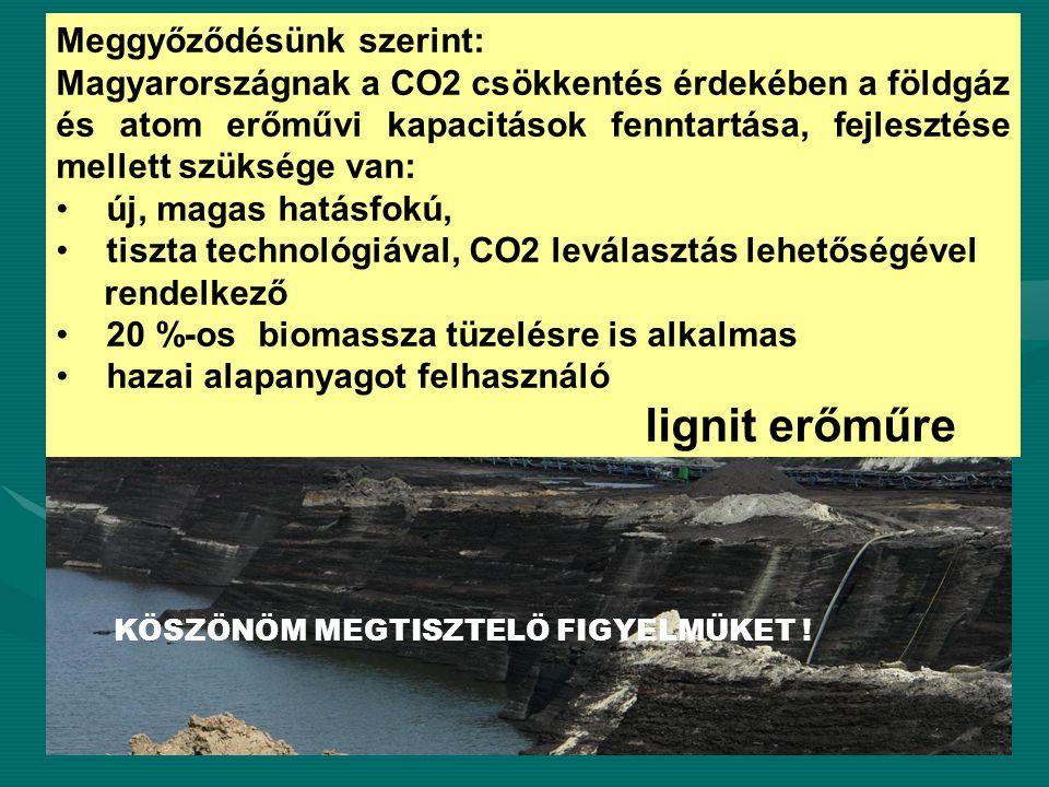 Meggyőződésünk szerint: Magyarországnak a CO2 csökkentés érdekében a földgáz és atom erőművi kapacitások fenntartása, fejlesztése mellett szüksége van: új, magas hatásfokú, tiszta technológiával, CO2 leválasztás lehetőségével rendelkező 20 %-os biomassza tüzelésre is alkalmas hazai alapanyagot felhasználó lignit erőműre KÖSZÖNÖM MEGTISZTELÖ FIGYELMÜKET !