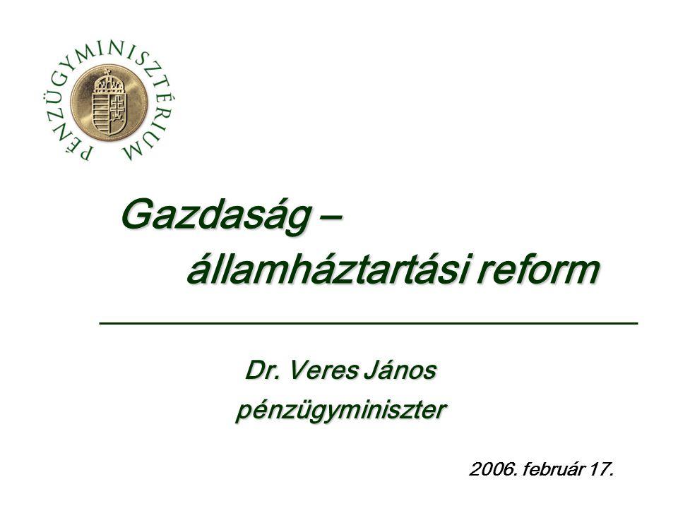 Gazdaság – államháztartási reform 2006. február 17. Dr. Veres János pénzügyminiszter
