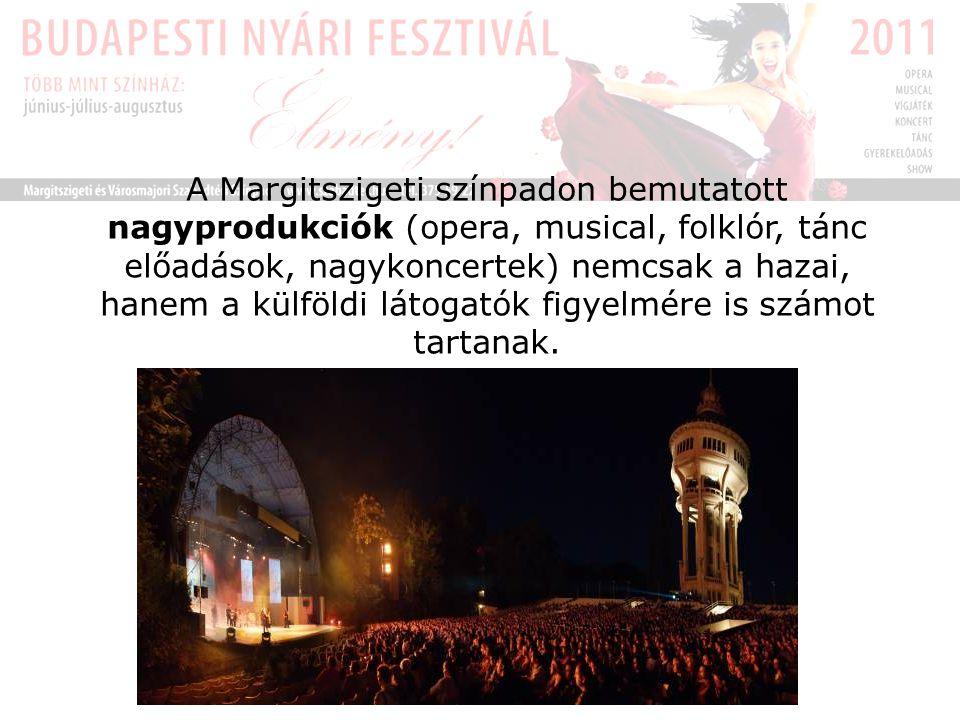 A Margitszigeti színpadon bemutatott nagyprodukciók (opera, musical, folklór, tánc előadások, nagykoncertek) nemcsak a hazai, hanem a külföldi látogatók figyelmére is számot tartanak.