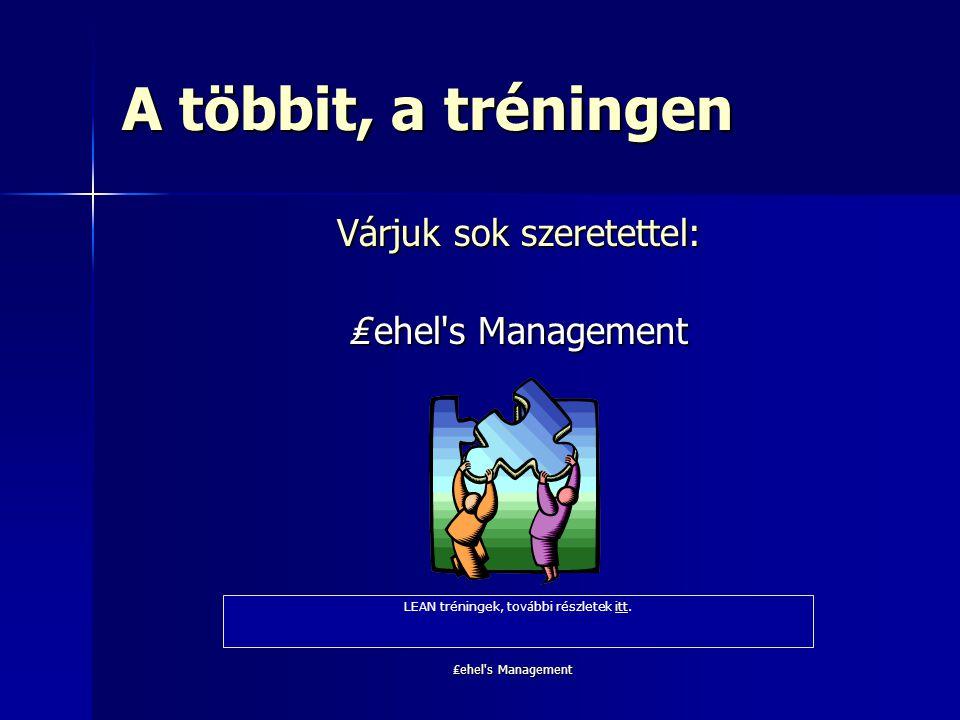 ₤ehel's Management A többit, a tréningen Várjuk sok szeretettel: ₤ ehel's Management LEAN tréningek, további részletek itt.itt
