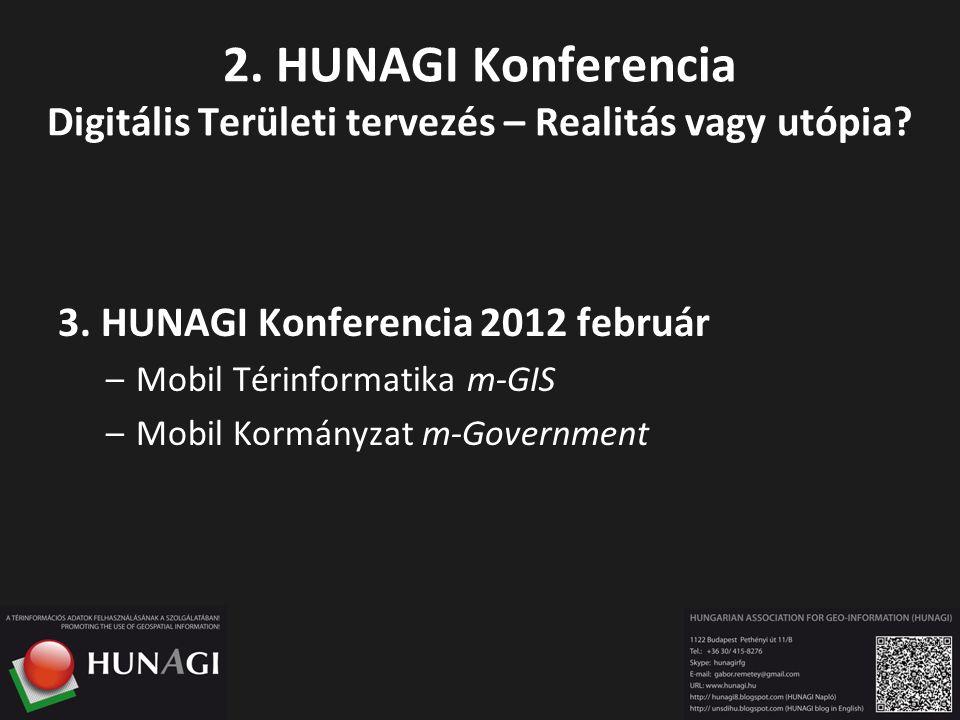 2. HUNAGI Konferencia Digitális Területi tervezés – Realitás vagy utópia? 3. HUNAGI Konferencia 2012 február –Mobil Térinformatika m-GIS –Mobil Kormán
