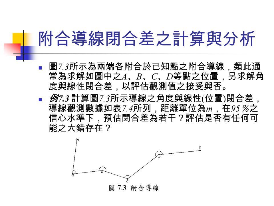 附合導線閉合差之計算與分析 圖 7.3 所示為兩端各附合於已知點之附合導線,類此通 常為求解如圖中之 A 、 B 、 C 、 D 等點之位置,另求解角 度與線性閉合差,以評估觀測值之接受與否。 例 7.3 計算圖 7.3 所示導線之角度與線性 ( 位置 ) 閉合差, 導線觀測數據如表 7.4 所列,