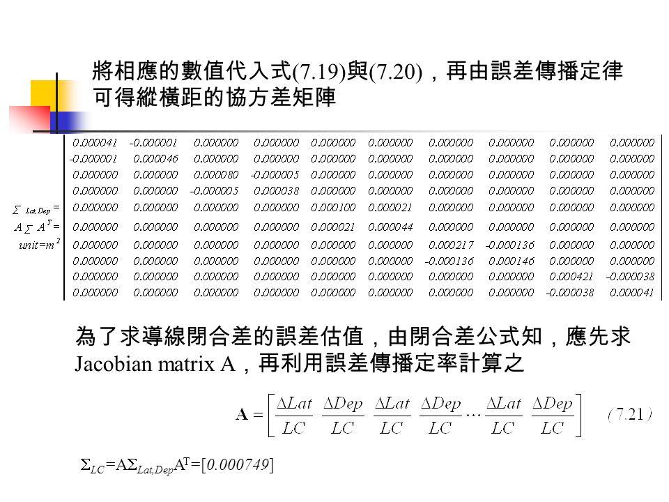 將相應的數值代入式 (7.19) 與 (7.20) ,再由誤差傳播定律 可得縱橫距的協方差矩陣 為了求導線閉合差的誤差估值,由閉合差公式知,應先求 Jacobian matrix A ,再利用誤差傳播定率計算之  LC =A  Lat,Dep A T =[0.000749]