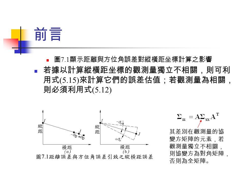 前言 圖 7.1 顯示距離與方位角誤差對縱橫距坐標計算之影響 若據以計算縱橫距坐標的觀測量獨立不相關,則可利 用式 (5.15) 來計算它們的誤差估值;若觀測量為相關, 則必須利用式 (5.12) 其差別在觀測量的協 變方矩陣的元素,若 觀測量獨立不相關, 則協變方為對角矩陣, 否則為全矩陣。