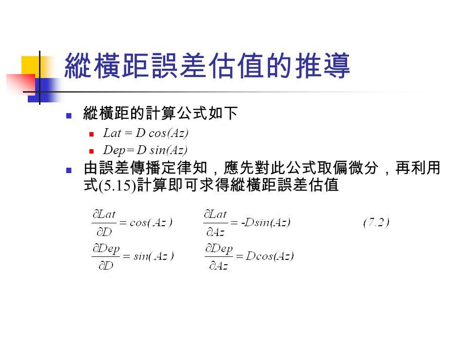 閉合導線閉合差之計算與分析 閉合導線之線性閉合差 ( 即為位置閉合差 ) 如下 LC=[(Lat AB +Lat BC +  +Lat EA ) 2 +(Dep AB +Dep BC +  +Dep EA ) 2 ] ½ 為了求得該誤差估值,同樣必須利用誤差傳播定律,因位 置誤差公式為非線性,故需線性化,如對 AB 的一階偏導數 為 由上式可發現,這些偏導數均與邊無關,且其他邊之偏導數都 相同。故一般誤差傳播定律的係數矩陣為