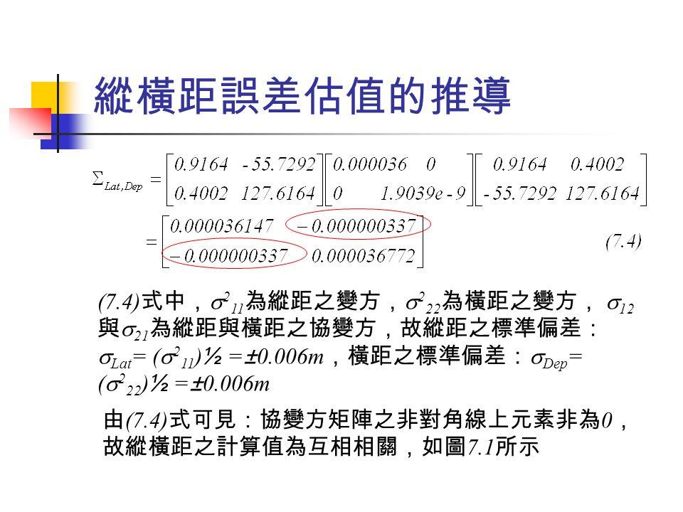 附合導線閉合差之計算與分析 圖 7.3 所示為兩端各附合於已知點之附合導線,類此通 常為求解如圖中之 A 、 B 、 C 、 D 等點之位置,另求解角 度與線性閉合差,以評估觀測值之接受與否。 例 7.3 計算圖 7.3 所示導線之角度與線性 ( 位置 ) 閉合差, 導線觀測數據如表 7.4 所列,距離單位為 m ,在 95 %之 信心水準下,預估閉合差為若干?評估是否有任何可 能之大錯存在?