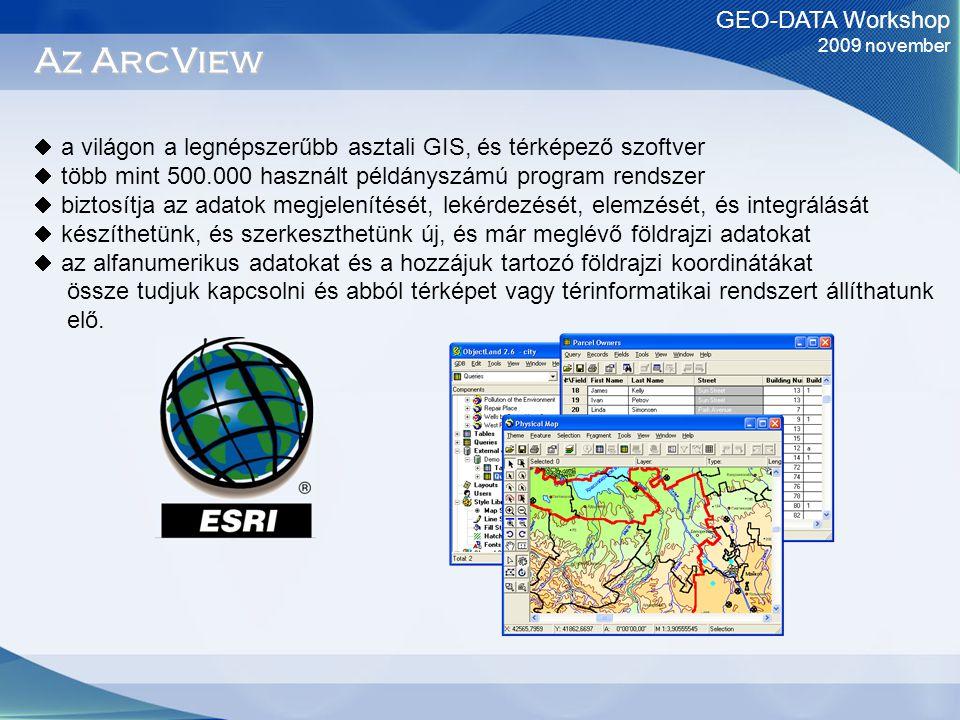GEO-DATA Workshop 2009 november Az ArcView  a világon a legnépszerűbb asztali GIS, és térképező szoftver  több mint 500.000 használt példányszámú program rendszer  biztosítja az adatok megjelenítését, lekérdezését, elemzését, és integrálását  készíthetünk, és szerkeszthetünk új, és már meglévő földrajzi adatokat  az alfanumerikus adatokat és a hozzájuk tartozó földrajzi koordinátákat össze tudjuk kapcsolni és abból térképet vagy térinformatikai rendszert állíthatunk elő.