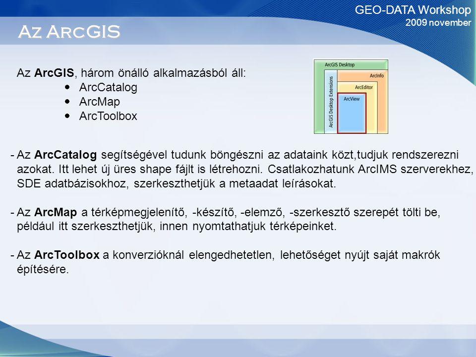 GEO-DATA Workshop 2009 november Az ArcGIS Az ArcGIS, három önálló alkalmazásból áll:  ArcCatalog  ArcMap  ArcToolbox - Az ArcCatalog segítségével tudunk böngészni az adataink közt,tudjuk rendszerezni azokat.