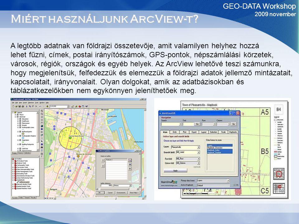 GEO-DATA Workshop 2009 november Miért használjunk ArcView-t? A legtöbb adatnak van földrajzi összetevője, amit valamilyen helyhez hozzá lehet fűzni, c