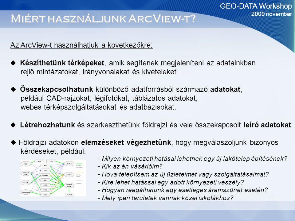 GEO-DATA Workshop 2009 november Miért használjunk ArcView-t? Az ArcView-t használhatjuk a következőkre:  Készíthetünk térképeket, amik segítenek megj