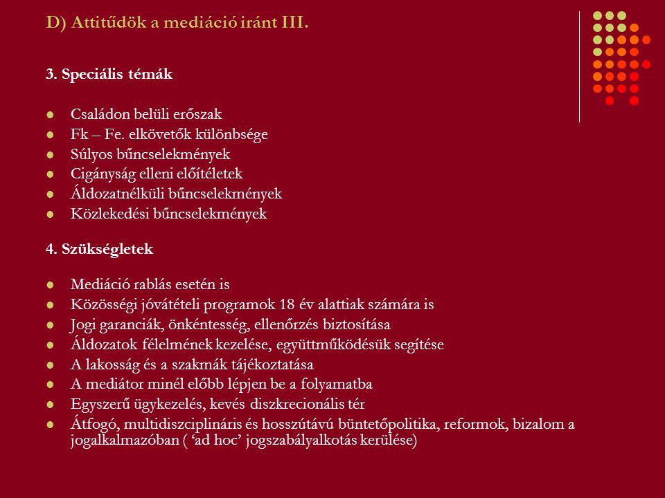 D) Attitűdök a mediáció iránt III. 3. Speciális témák Családon belüli erőszak Fk – Fe.