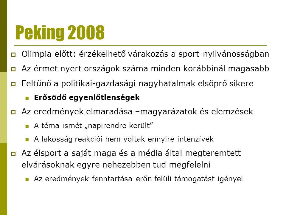Peking 2008  Olimpia előtt: érzékelhető várakozás a sport-nyilvánosságban  Az érmet nyert országok száma minden korábbinál magasabb  Feltűnő a poli