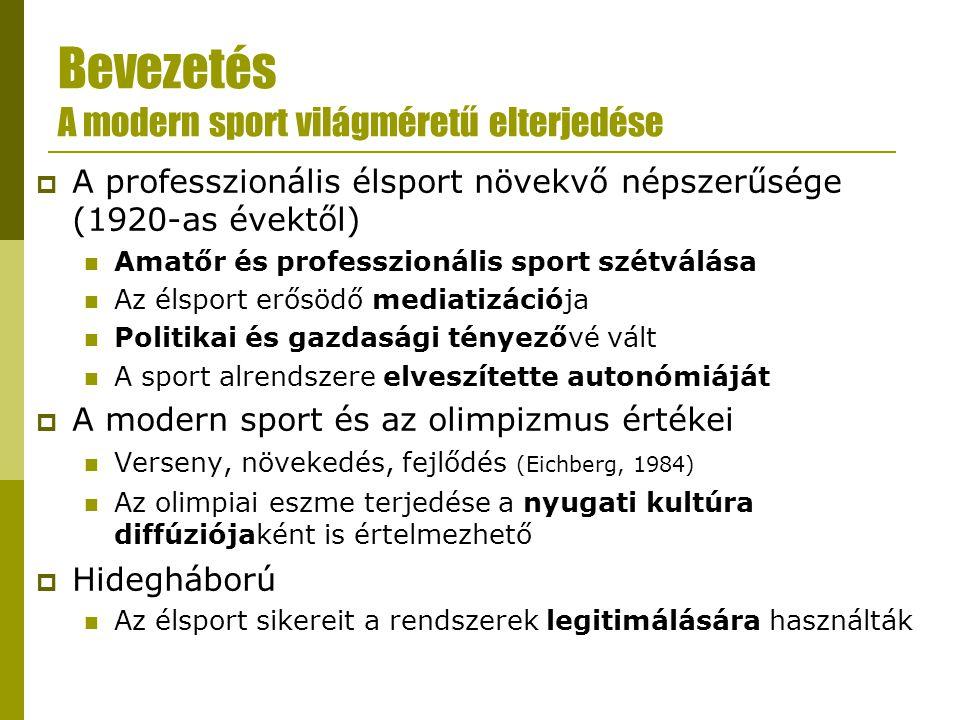 Bevezetés Globalizáció és sport  A tőke és a befektetés, a munkaerő, valamint a kulturális szimbólumok és ideológiák országhatárokon átívelő áramlása  Hatása eltérő lehet a világ különböző területein (Bauman, 1998) és a különböző sportágak esetében is (Houlihan, 1997)  Kritika: az egyenlőtlenségek sportolók, egyéb szereplők, sportklubok és országok között is növekvőben vannak (Ben-Porat & Ben-Porat, 2004)