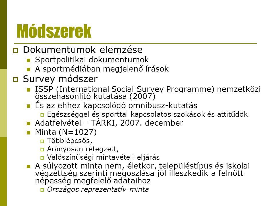Módszerek  Dokumentumok elemzése Sportpolitikai dokumentumok A sportmédiában megjelenő írások  Survey módszer ISSP (International Social Survey Prog