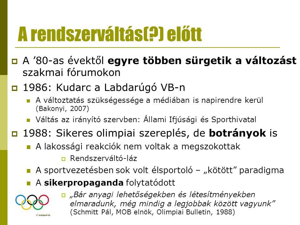 """Következtetések 2  A """"sportoló nemzet víziója távolodik  Rövid távon nem várható javulás a lakosság egészségi állapotában  A magyar sport-nyilvánosság diskurzusában a versenysporthoz nem köthető elemek hangsúlytalanok Az élsport eredményeit továbbra is felhasználják  Érdemes lenne kihasználni a sport integráló és közösségépítő erejét  Paradigmaváltásra van szükség"""