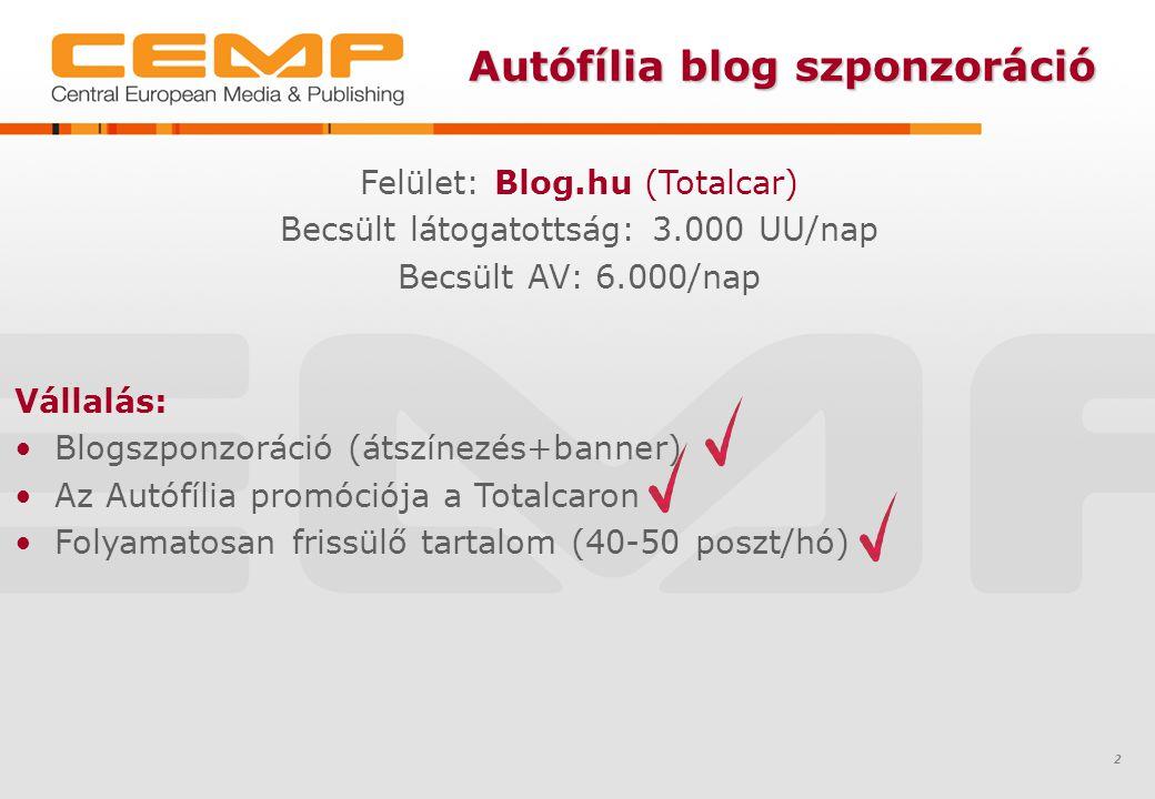 Autófília blog szponzoráció 2 Vállalás: Blogszponzoráció (átszínezés+banner) Az Autófília promóciója a Totalcaron Folyamatosan frissülő tartalom (40-50 poszt/hó) Felület: Blog.hu (Totalcar) Becsült látogatottság: 3.000 UU/nap Becsült AV: 6.000/nap