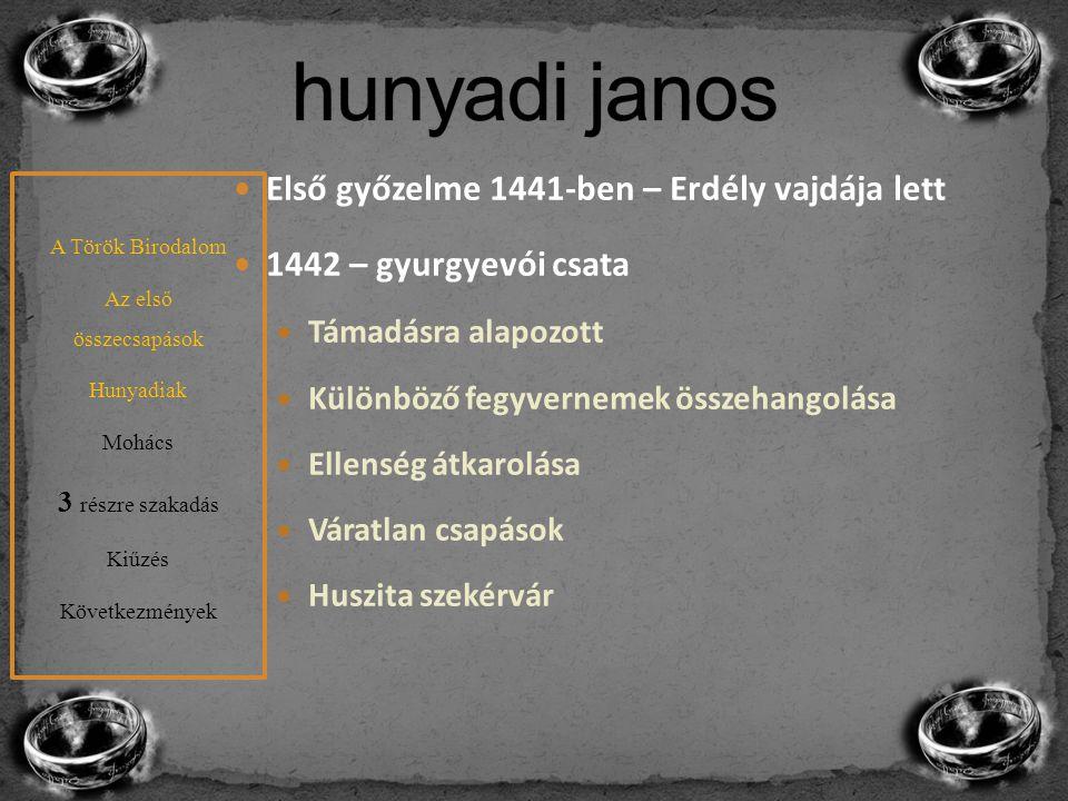 Első győzelme 1441-ben – Erdély vajdája lett 1442 – gyurgyevói csata Támadásra alapozott Különböző fegyvernemek összehangolása Ellenség átkarolása Vár