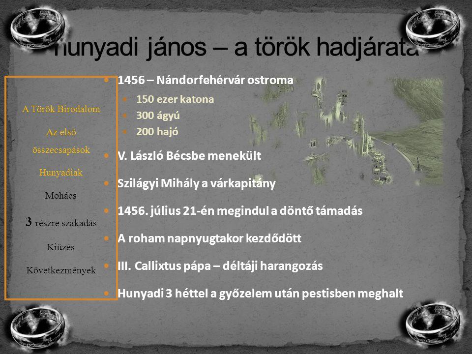 1456 – Nándorfehérvár ostroma 150 ezer katona 300 ágyú 200 hajó V. László Bécsbe menekült Szilágyi Mihály a várkapitány 1456. július 21-én megindul a