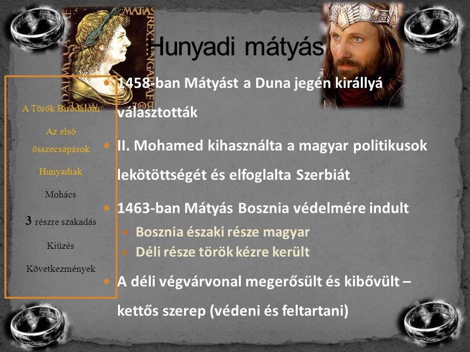 1458-ban Mátyást a Duna jegén királlyá választották II. Mohamed kihasználta a magyar politikusok lekötöttségét és elfoglalta Szerbiát 1463-ban Mátyás