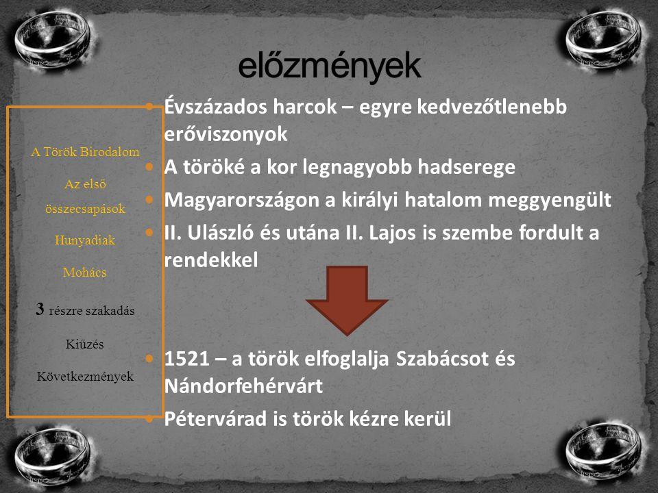 A törökök továbbjutnak Eszékig (utánpótlás) Nem csak a magyar nemesség hibája Gyenge király Alapjaiban kisebb sereg Kedvezőtlen külpolitikai környezet Dózsa György féle felkelés nem rontott sokat a helyzeten Harmad akkora sereg (25 ezer kb 60 ezer katonával szemben) A hadsereg élén Tomori Pál Rossz taktika (síkság vs dombság) A Török Birodalom Az első összecsapások Hunyadiak Mohács 3 részre szakadás Kiűzés Következmények