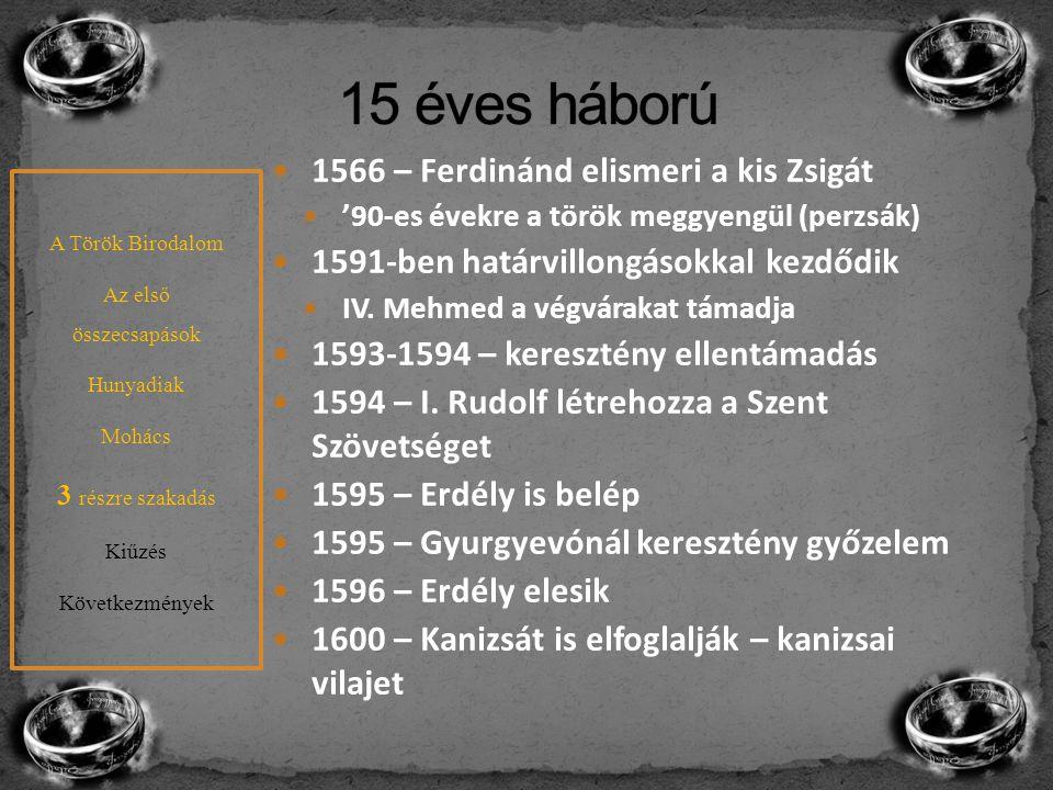 A Habsburgok és a rendek kapcsolata romlik Koholt vádak – perek Bocskai is beleesik a szórásba Visszaüt – hajdúk 1605-re a Magyarország fejedelme 1606 – bécsi béke Bocskai segít lezárni a 15 éves háborút Zsitvatoroki béke A Török Birodalom Az első összecsapások Hunyadiak Mohács 3 részre szakadás Kiűzés Következmények