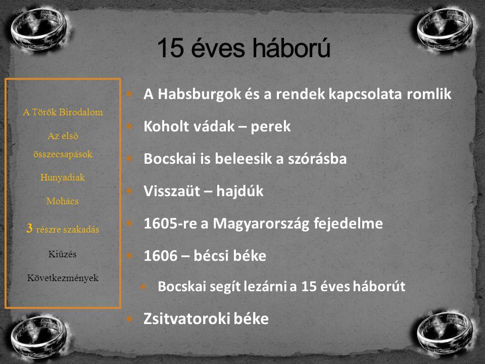 A Habsburgok és a rendek kapcsolata romlik Koholt vádak – perek Bocskai is beleesik a szórásba Visszaüt – hajdúk 1605-re a Magyarország fejedelme 1606