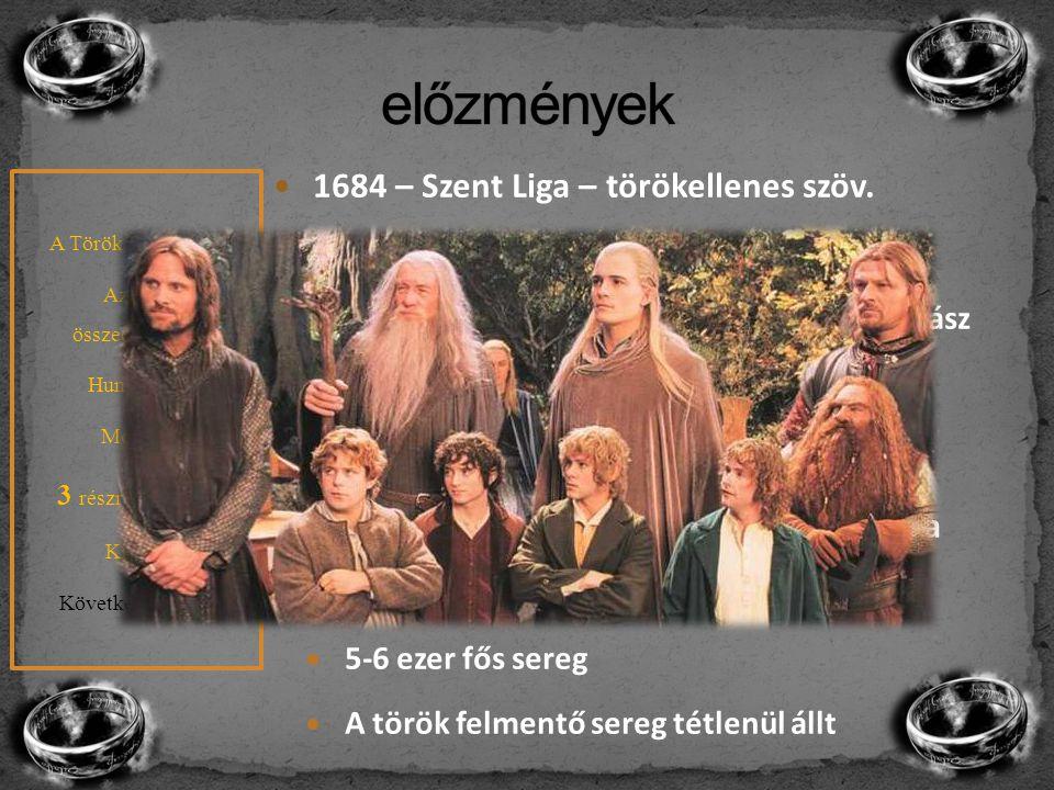 1684 – Szent Liga – törökellenes szöv. Habsburg, Lengyelország, Velence Később oroszok, bajorok, Brandenburg, szász Megindul a sereg 4 év alatt Belgrá