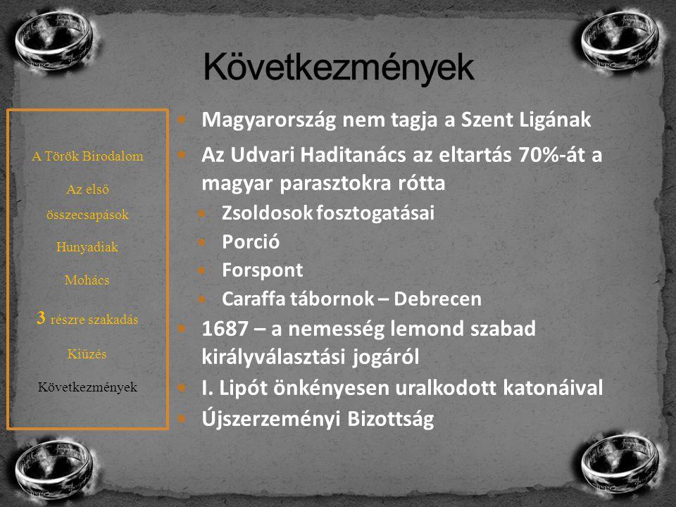 Magyarország nem tagja a Szent Ligának Az Udvari Haditanács az eltartás 70%-át a magyar parasztokra rótta Zsoldosok fosztogatásai Porció Forspont Cara