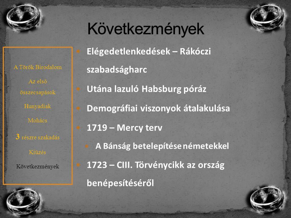 Elégedetlenkedések – Rákóczi szabadságharc Utána lazuló Habsburg póráz Demográfiai viszonyok átalakulása 1719 – Mercy terv A Bánság betelepítése német