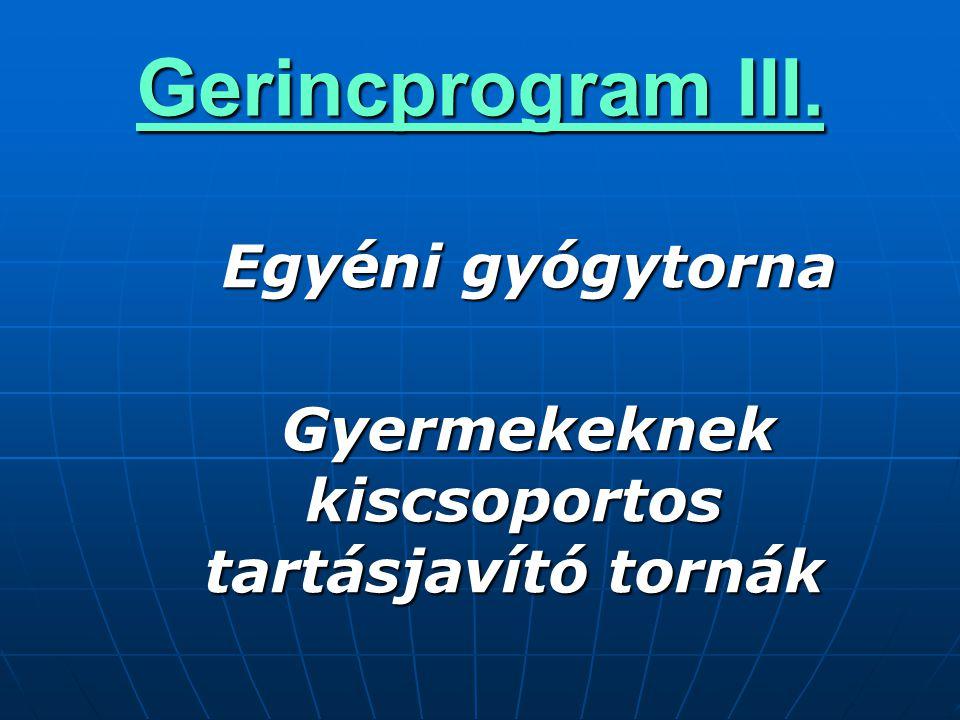 Gerincprogram III.  Egyéni gyógytorna  Gyermekeknek kiscsoportos tartásjavító tornák 