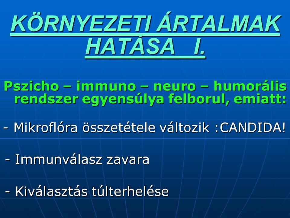 KÖRNYEZETI ÁRTALMAK HATÁSA I. Pszicho – immuno – neuro – humorális rendszer egyensúlya felborul, emiatt: - Mikroflóra összetétele változik :CANDIDA! -
