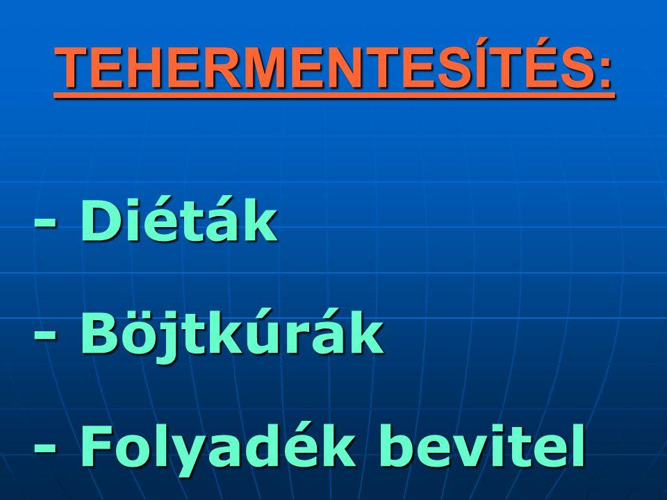 TEHERMENTESÍTÉS: - Diéták - Diéták - Böjtkúrák - Böjtkúrák - Folyadék bevitel - Folyadék bevitel