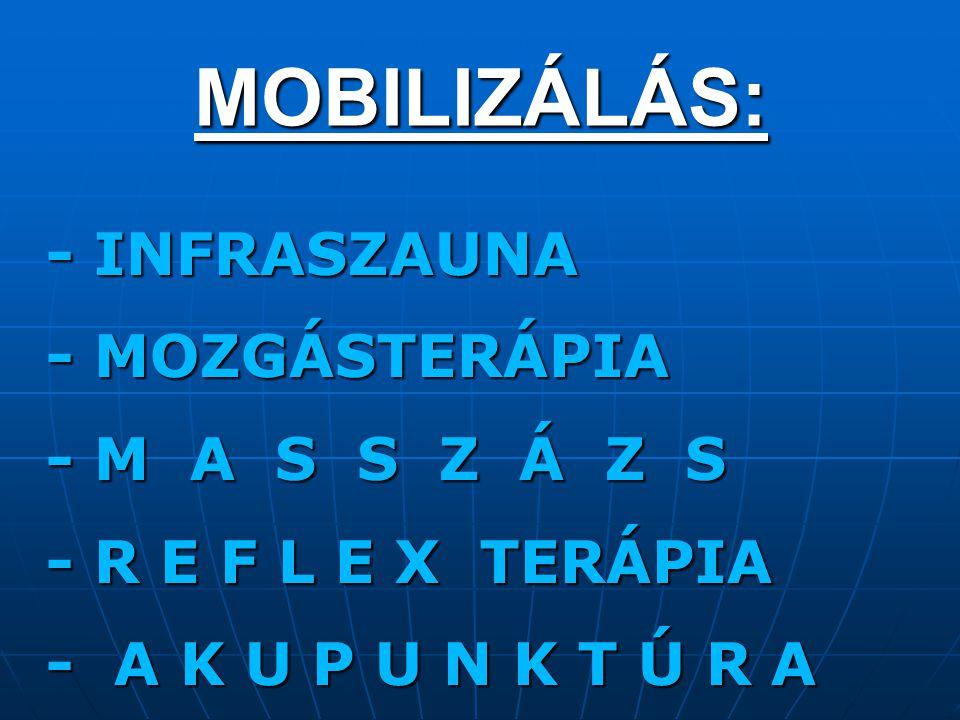 MOBILIZÁLÁS: - INFRASZAUNA - INFRASZAUNA - MOZGÁSTERÁPIA - MOZGÁSTERÁPIA - M A S S Z Á Z S - M A S S Z Á Z S - R E F L E X TERÁPIA - R E F L E X TERÁP