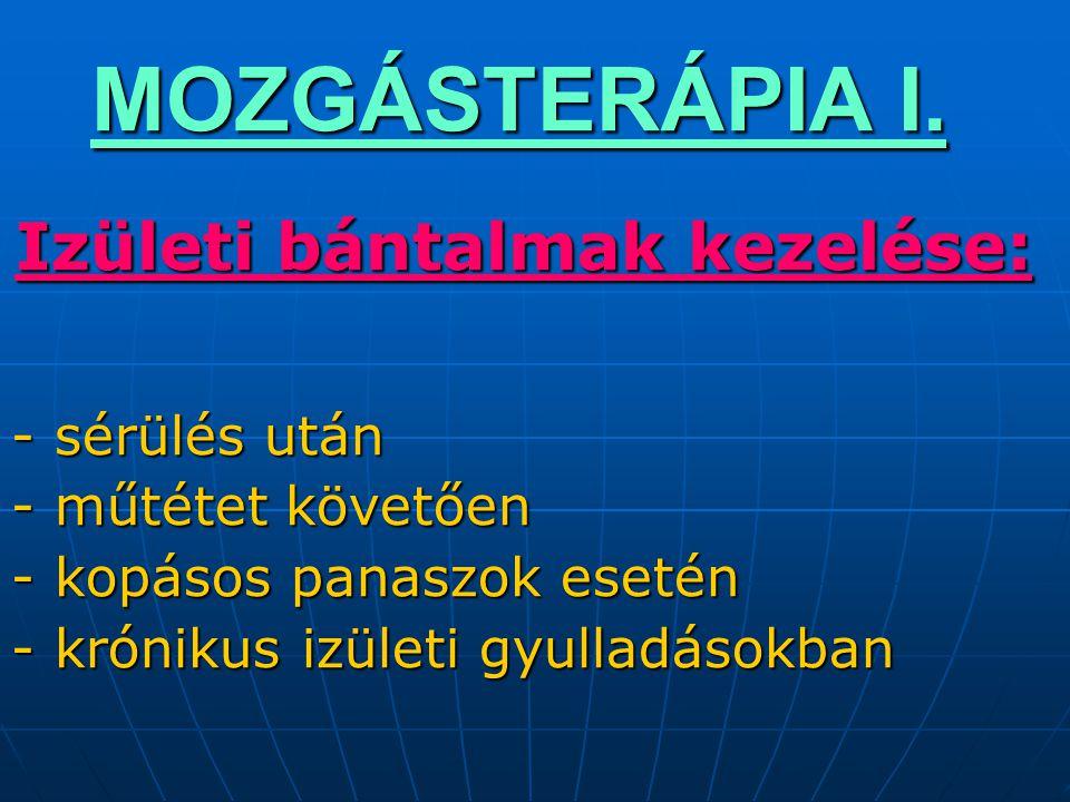 MOZGÁSTERÁPIA I. Izületi bántalmak kezelése: - sérülés után - műtétet követően - kopásos panaszok esetén - krónikus izületi gyulladásokban