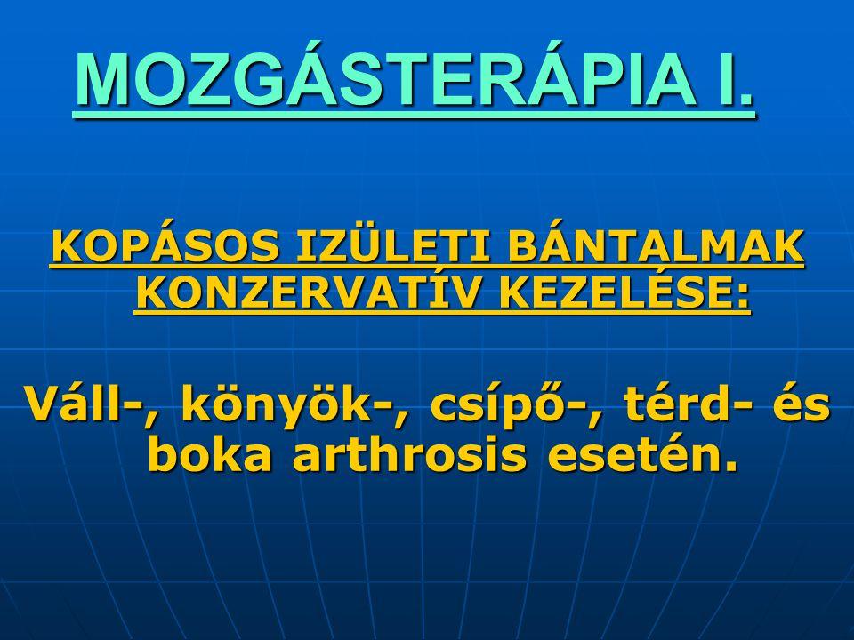 MOZGÁSTERÁPIA I. KOPÁSOS IZÜLETI BÁNTALMAK KONZERVATÍV KEZELÉSE: Váll-, könyök-, csípő-, térd- és boka arthrosis esetén.