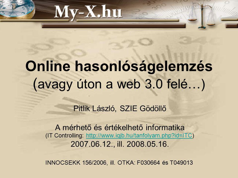 Online hasonlóságelemzés ( avagy úton a web 3.0 felé…) Pitlik László, SZIE Gödöllő A mérhető és értékelhető informatika (IT Controlling: http://www.iqjb.hu/tanfolyam.php id=ITC)http://www.iqjb.hu/tanfolyam.php id=ITC 2007.06.12., ill.