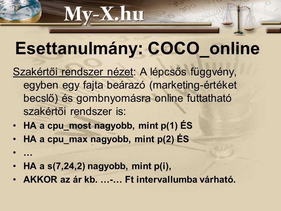 INNOCSEKK 156/2006 Esettanulmány: COCO_online Szakértői rendszer nézet: A lépcsős függvény, egyben egy fajta beárazó (marketing-értéket becslő) és gombnyomásra online futtatható szakértői rendszer is: HA a cpu_most nagyobb, mint p(1) ÉS HA a cpu_max nagyobb, mint p(2) ÉS … HA a s(7,24,2) nagyobb, mint p(i), AKKOR az ár kb.