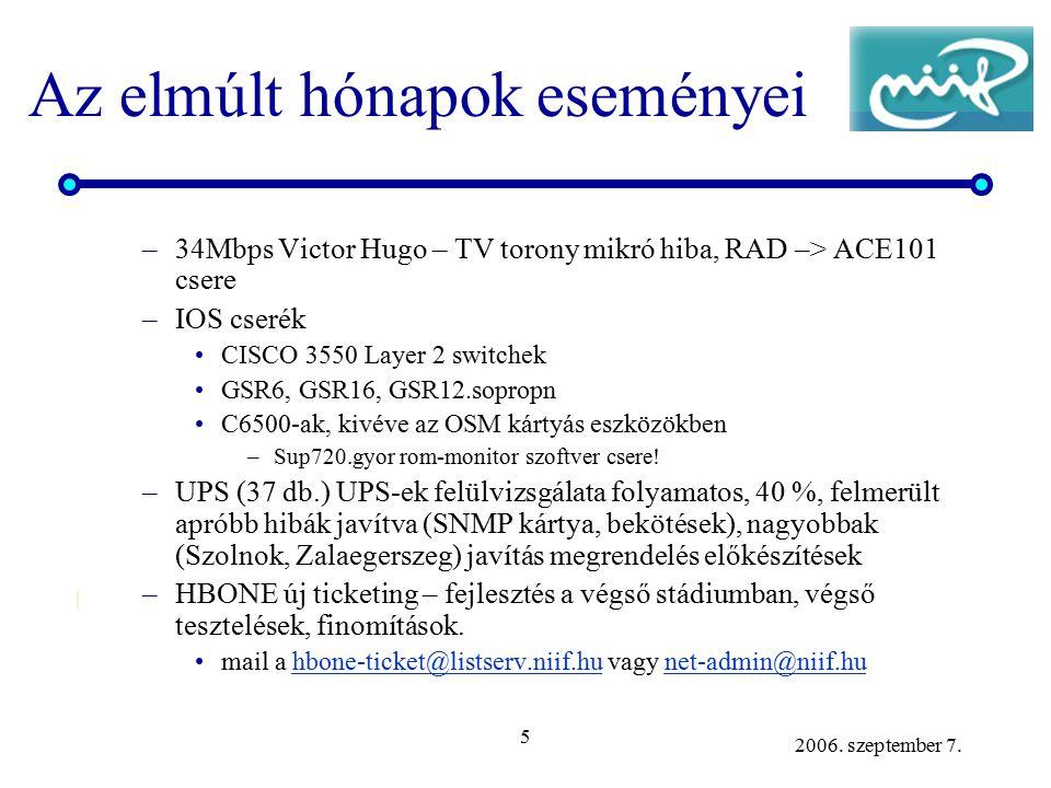 5 2006. szeptember 7. Az elmúlt hónapok eseményei –34Mbps Victor Hugo – TV torony mikró hiba, RAD –> ACE101 csere –IOS cserék CISCO 3550 Layer 2 switc