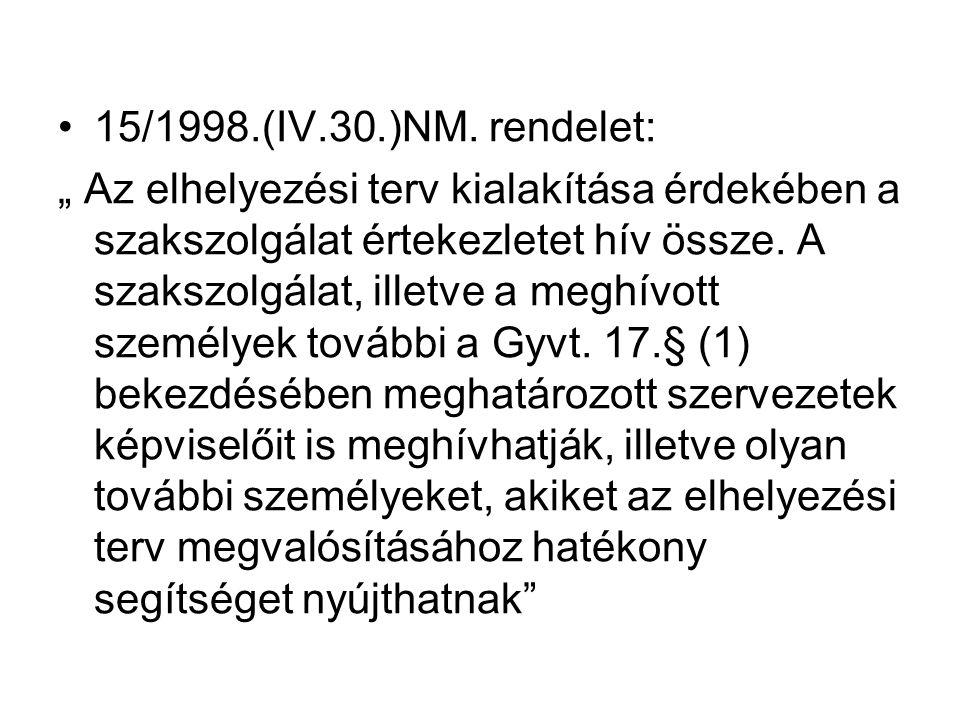 """15/1998.(IV.30.)NM. rendelet: """" Az elhelyezési terv kialakítása érdekében a szakszolgálat értekezletet hív össze. A szakszolgálat, illetve a meghívott"""