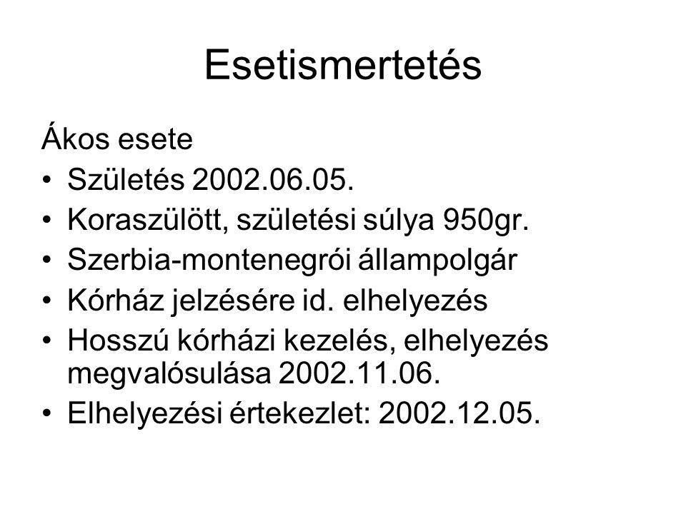 Esetismertetés Ákos esete Születés 2002.06.05. Koraszülött, születési súlya 950gr. Szerbia-montenegrói állampolgár Kórház jelzésére id. elhelyezés Hos