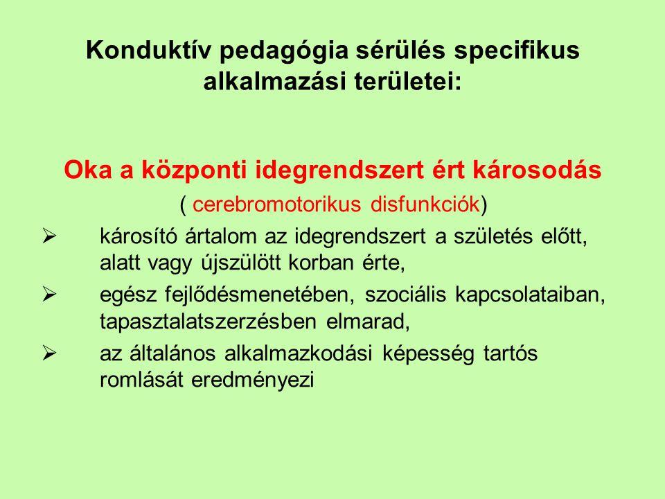Konduktív pedagógia sérülés specifikus alkalmazási területei: Oka a központi idegrendszert ért károsodás ( cerebromotorikus disfunkciók)  károsító ár