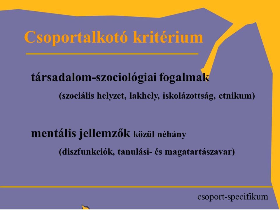 P Csoportalkotó kritérium társadalom-szociológiai fogalmak (szociális helyzet, lakhely, iskolázottság, etnikum) mentális jellemzők közül néhány (diszfunkciók, tanulási- és magatartászavar) csoport-specifikum