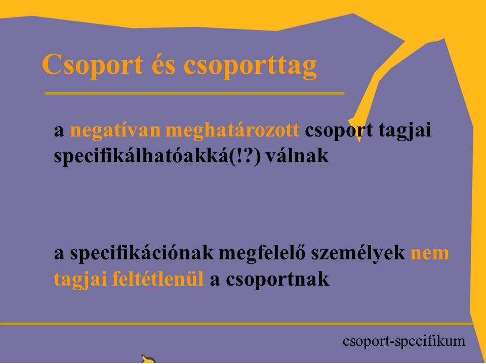 P Csoport és csoporttag a negatívan meghatározott csoport tagjai specifikálhatóakká(! ) válnak a specifikációnak megfelelő személyek nem tagjai feltétlenül a csoportnak csoport-specifikum