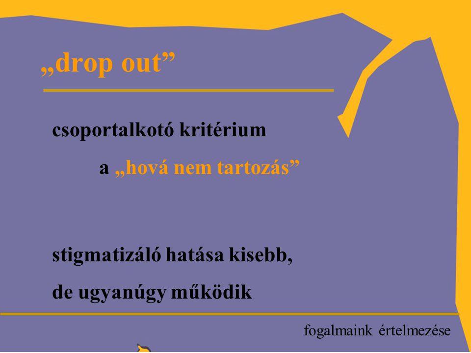 """P """"drop out csoportalkotó kritérium a """"hová nem tartozás stigmatizáló hatása kisebb, de ugyanúgy működik fogalmaink értelmezése"""