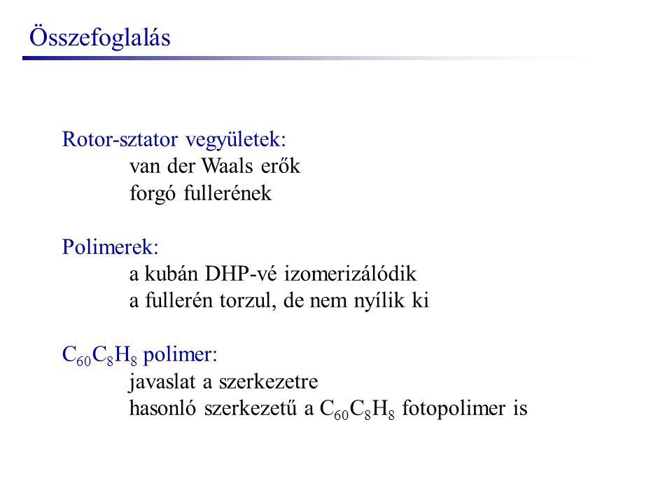Összefoglalás Rotor-sztator vegyületek: van der Waals erők forgó fullerének Polimerek: a kubán DHP-vé izomerizálódik a fullerén torzul, de nem nyílik ki C 60 C 8 H 8 polimer: javaslat a szerkezetre hasonló szerkezetű a C 60 C 8 H 8 fotopolimer is